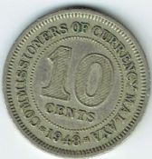 Malaya, George VI, 10 Cents 1948, VF, WB7497